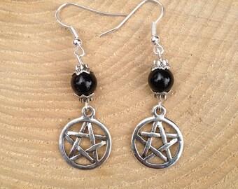 Black Onyx Pentagram/Pentacle Pagan Earrings Gemstone Crystal Tibetan Silver Pagan/Wicca/Witch/Witcraft/Shamanism/New age/Goth/Boho