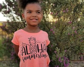 Toddler Girl Summertime Fringe Tee, Kids Pineapple Shirt, Kids Hippie Tee, Kids Boho Fringe Shirt, Kids Summer Shirt, Aloha Summertime Tee