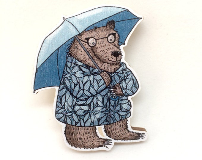 Featured listing image: Rainy Day Bear Brooch