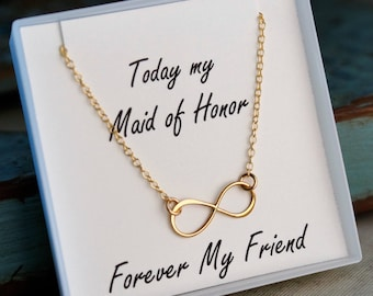 Infinity Necklace / Maid of Honor Necklace / Sterling Silver or Gold Filled / Forever my Friend