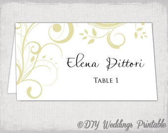 Gold Border Place Cards Printable Template Digital File - Place card setting template