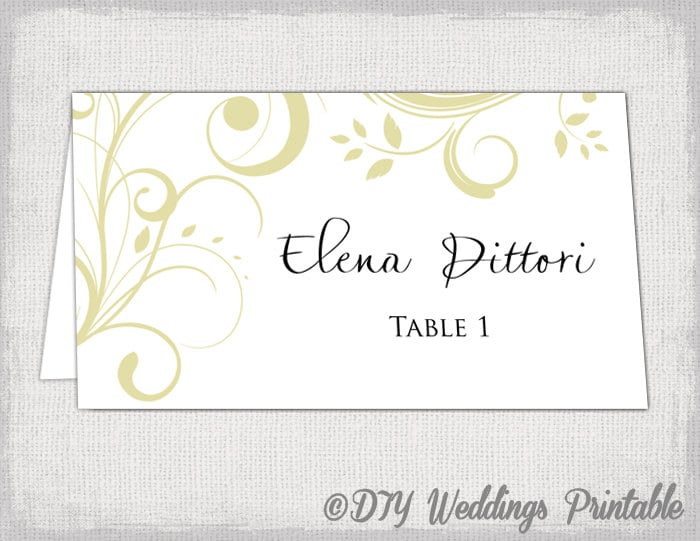 Gold Place Card Template Scroll Name Cards DIY - Wedding place card template word