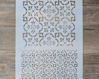 Large and Small Ornate Tile Pattern, Large Mixed Media Stencil