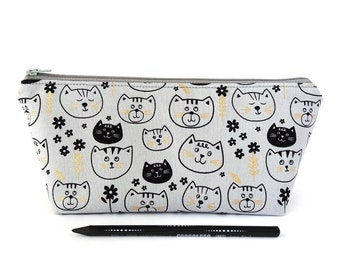 Cute kitty cat pencil case for girls, Cosmetic pouch with zipper, Fully lined, Large or small, Gold black gray, Kawaii school supplies