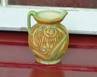Vintage Pottery Pitcher Made in Japan Ochre and Green PanchosPorch