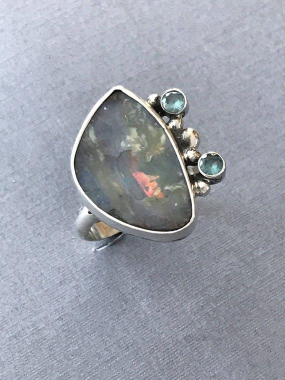Stunning Australian Boulder opal and topaz ring