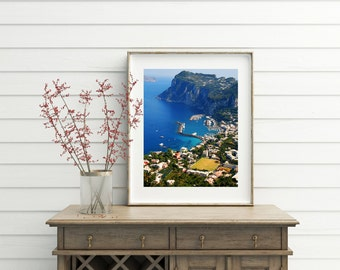 Capri Italy Photography - Turquoise Blue Decor - Mediterranean Wall Art - Ocean Landscape Italian Photograph - Vibrant Color Photo