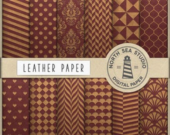 Leather Digital Paper, Brown Leather Scrapbooking Papers, Leather Patterns, Polkadot, Chevron, Quaterfoil, Hearts, Coupon Code: BUY5FOR8
