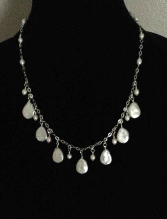 Freswater Pearl Teardrops on Sterling Silver Chain NSS6151796