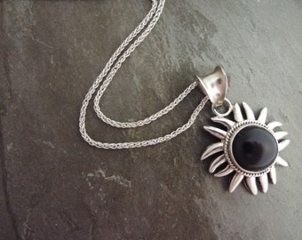"Black Onyx Sunburst Necklace in a 16"" Sterling Silver Italian Chain"
