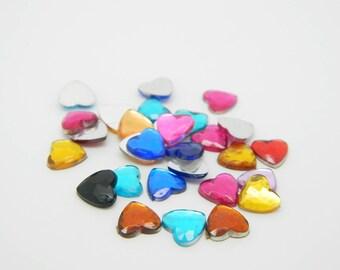 60 x Rhinestone Heart multicolor 8mm (l1261)