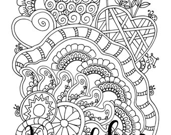 Downtime, 1 Adult Coloring Book Page, Printable Instant Download