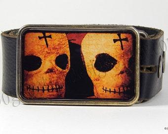 Day of the Dead Belt Buckle Calavera Skulls Belt Buckle Vintage Image Dia de los Muertos Choice of Buckle Finish Birthday Gift