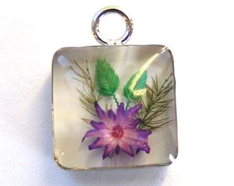 Purple Flowers Resin Pendant