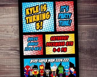 Superhero Invitations FAST Ship Free Customized Wording - Superhero birthday invitations templates free