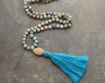 Tassel Necklace - Amazonite Necklace - Layering Necklace, Tassle Necklace, Statement Necklace, Boho Jewelry, Beaded Necklace, Long Necklace