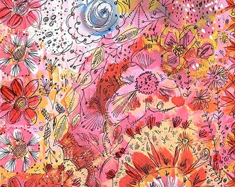Acrylic Painting, Whimsical Art, Floral Art, Bright Colored Art
