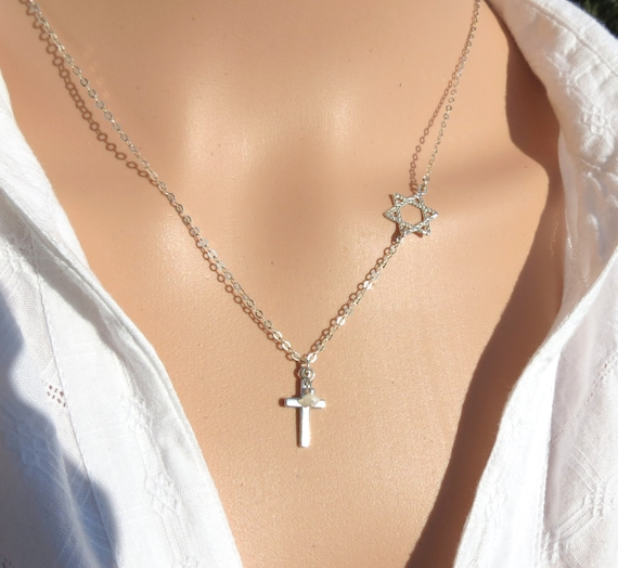 Star of david with cross necklace cross with magen david necklace silver star of david necklace messianic star of david and cross gift aloadofball Gallery