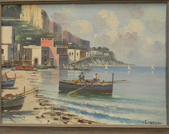 Ciappa . Signed . Oil Painting .  Italian City by the Sea