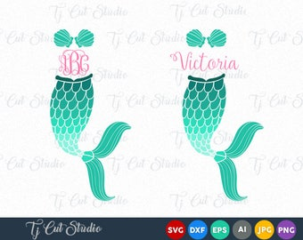 Mermaid Tail SVG Mermaid Monogram SVG, Fish Mermaid ,Mermaid Monogram Svg, Files for Silhouette Cameo or Cricut, Commercial & Personal Use.