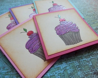 3x3  Note cards- CUPCAKE -  Mini Note Cards with Envelopes (5)