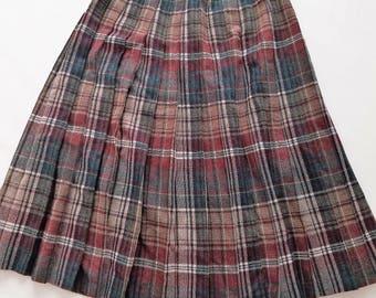 Mélange de laine Vintage 1980 plissée taille haute jupe modeste petit XSmall Hunter Green Bordeaux à carreaux