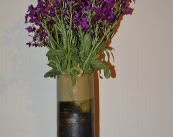 Handmade Raku Wabi Sabi Vase 'Nichibotsu'