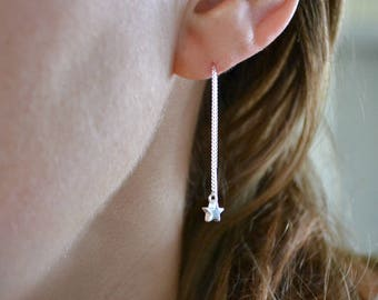 Gold or Silver Star Earrings | Gold Filled Threader Earrings | Sterling Silver Ear Threaders | Chain Thread Earrings