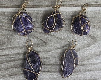 Magic Natural Raw Amethyst Crystal Quartz Pendant With Gold Plated Wire Wrapped / (B8S54_01)