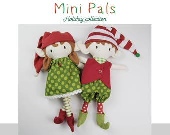 NEW Mini Pals Holiday collection ELVES rag doll sewing pattern toy elf elves boy girl elf softie stuffed doll christmas
