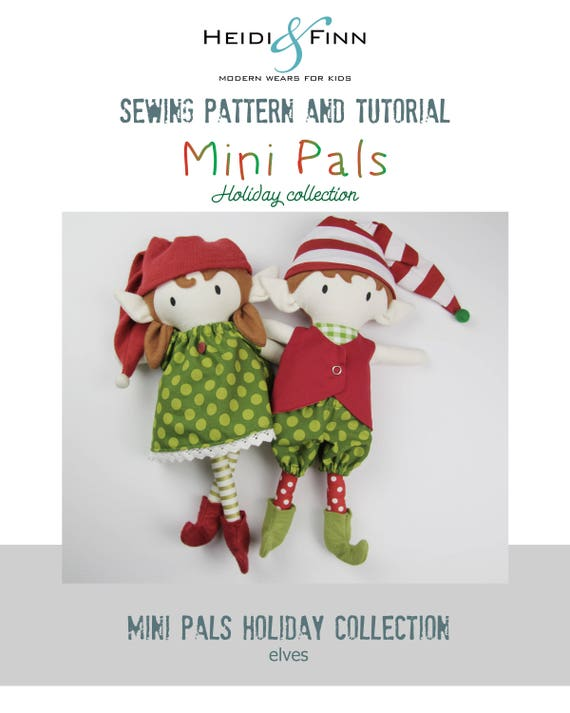 NEW Mini Pals Holiday collection ELVES rag doll sewing pattern