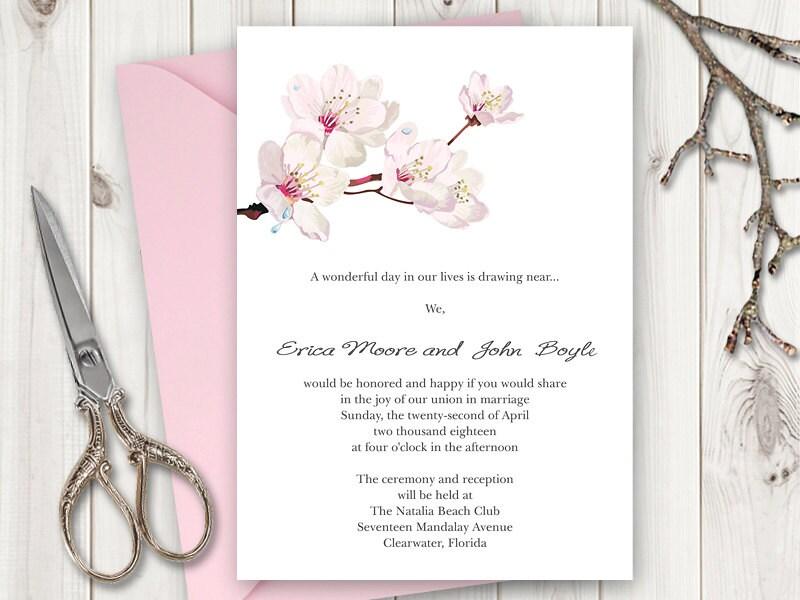 Wedding Invitation Printable Template Cherry