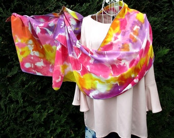 """Scarf silk, hand painted silk, crepe de chine, multicolored, saturated, pastel scarf silk, mother's day, pink, yellow """"Bloom"""""""