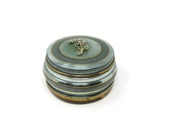 Reserved for Jack - Victorian Musical Blue Powder Box, Rhinestone Flower Musical Dresser Box, Vanity Decor