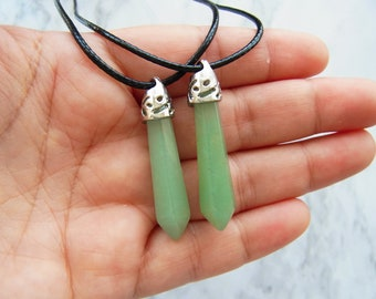 Green Aventurine Pendant Chakra Reiki Healing Point Necklace Natural Stone Pendant Necklace