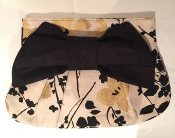 Beige/Gold Floral Linen Clutch with Black Bow
