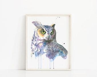 owl print, owl art, owl painting, owl artwork, owl watercolor, owl watercolor print, owl watercolor painting, owl decor, owl art print