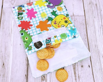 Waterproof Snack Pack, Snack Bag, Snack holder, Snack Keeper, Snack Saver, Monster Snack Pack, Sandwich Bag, Lunch Bag Pocket, Food Pouch