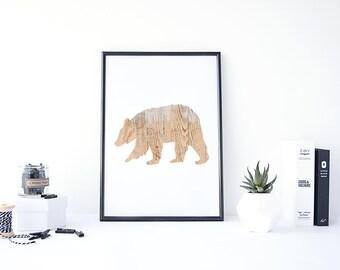 Bear Print, Bear Wall Art, Woodland Animals Print,Bear Nursery Decor Wilderness Bear Print, Bear Silhouette, Printable Art, Rustic Wood Art