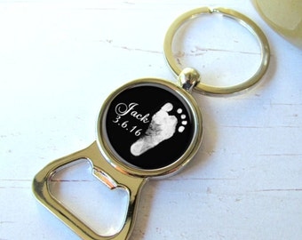Footprint Keychain, Custom Gift For Dad, Personalized Bottle Opener