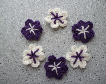 Handmade 6 crochet wool off white and purple flowers