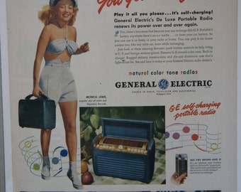1947 GE General Electric Portable Radio Self Charging Monica Lewis Full Page Ad