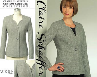 "Designer Jacket Pattern Sweetheart Jacket VOGUE COUTURE V8519 UNCUT bust 36-42"" Claire Schaeffer Couture Jacket Princess Seam Jacket"