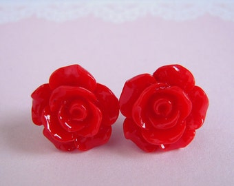 Red Rose Studs Earrings, Medium Rose, Red Flower Earrings, Gift For Her