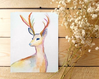 What a Deer |  5x7 Giclee Art Print of a Watercolor Painting