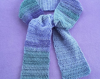 Lavender and Misty Green hand-crocheted Scarf