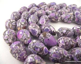 Purple Mosaic Magnesite Beads, Drop Beads, 18 x 13 mm, 15 Inch Strand, Whole Strand