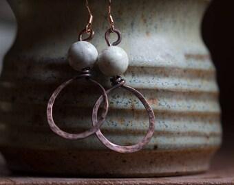 Copper Wire & Bead Earrings 16 ga Free US Shipping handmade