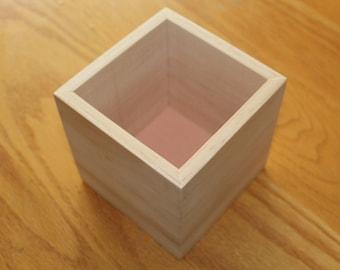 """4""""x4"""" Wooden Box UNFINISHED Flower Box Organizer Storage Wedding Centerpiece Planter"""