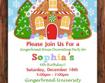 Gingerbread house invitation gingerbread house invite gingerbread birthday invitation gingerbread house decorating party birthday invitation birthday invite christmas filmwisefo Images